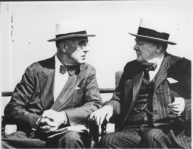 Franklin D. Roosevelt and Churchill in Quebec, Canada, 12 September 1944