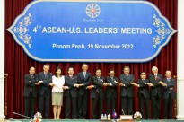 U.S. President Barack Obama poses for the ASEAN-United States Leaders' Meeting family photo at the Peace Palace in Phnom Penh, Cambodia, November 19, 2012. President Obama is the first U.S. President to visit Cambodia. [State Department photo by William Ng/ Public Domain]