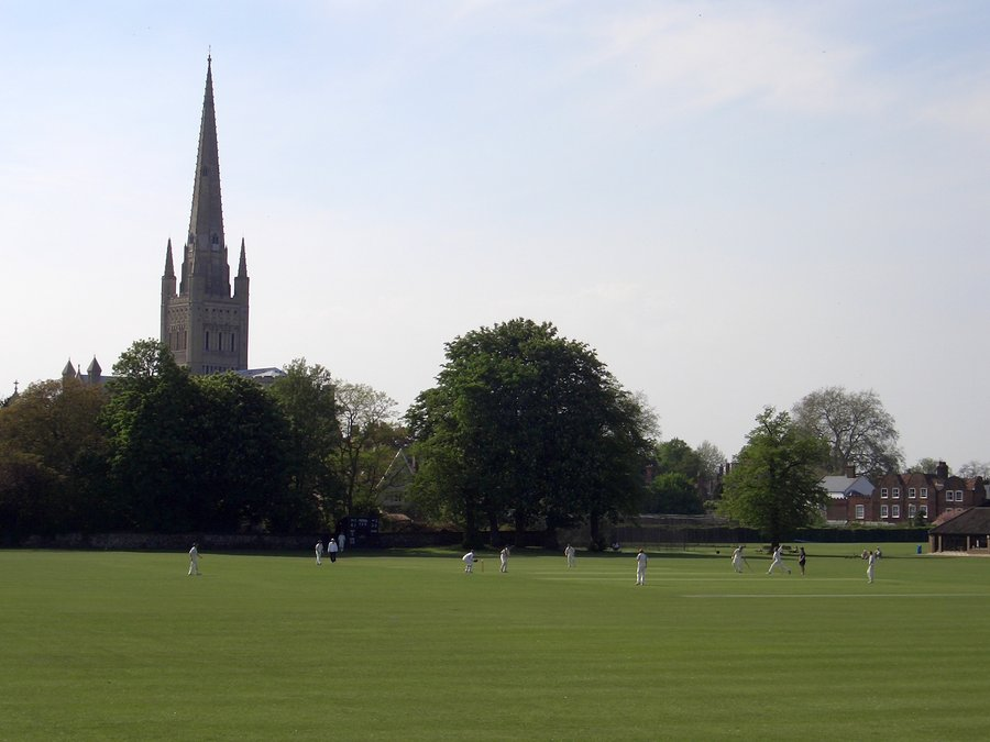 A game of cricket by Norwich Cathedral