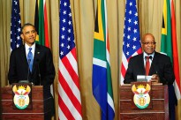 President Jacob Zuma and US President Barrack Obama during a press briefing at the Union Buildings in Pretoria. (Photo: GCIS)