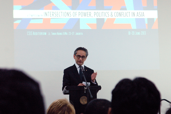 Indonesian FM Natalegawa at the conference 'Intersections of Power, Politics and Conflict in Asia' in June