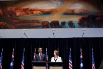President Barack Obama holds a joint press conference with Prime Minister Julia Gillard of Australia at Parliament House in Canberra, Australia, Nov. 16, 2011.