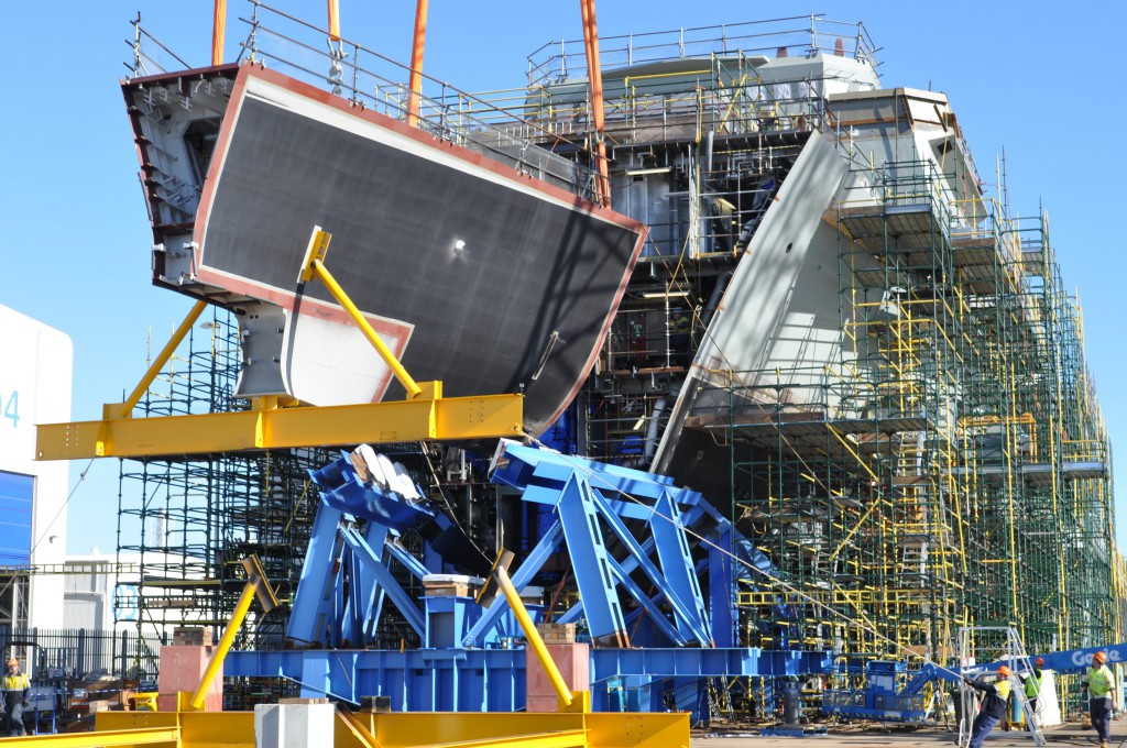 Grand ambition: consolidation of final keel block for Australia's first Air Warfare Destroyer.