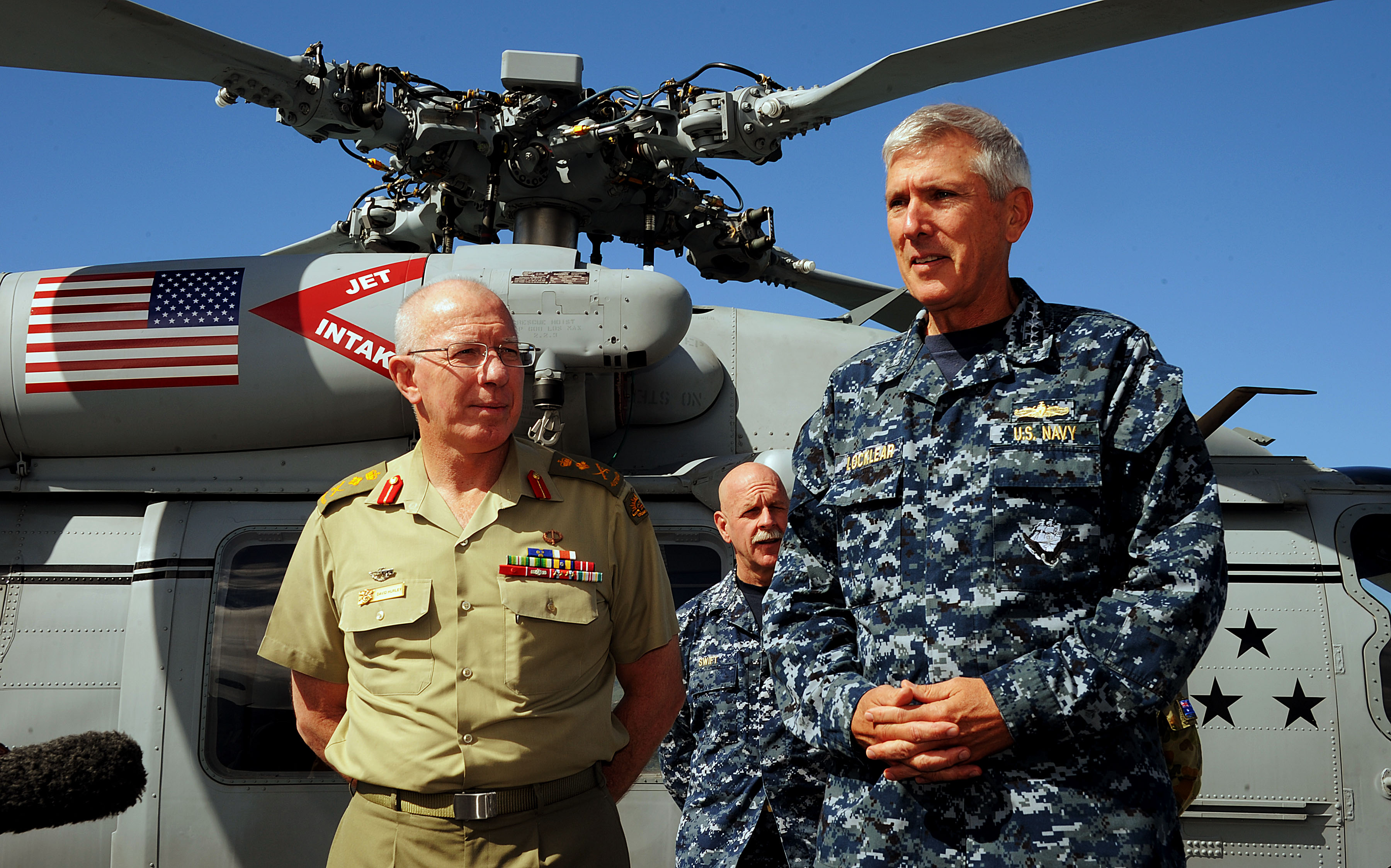 Australian Chief of the Defence Force, General David Hurley, and U.S. Navy Commander, US Pacific Command, Admiral Samuel J. Locklear III, announce the official completion of Exercise Talisman Saber 2013 during a media conference on board USS Blue Ridge in Cairns, Queensland.