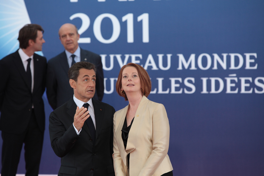 Then Prime Minsiter Julia Gillard with then President of France Nicolas Sarkozy at the G20 in Cannes, France, 2011.