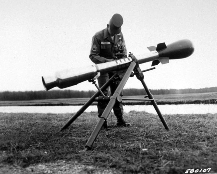 A U.S. developed M-388 Davy Crockett nuclear weapon mounted to a recoilless rifle on a tripod, shown here at the Aberdeen Proving Ground in Maryland in March 1961. It used the smallest nuclear warhead ever developed by the United States, March 1961.