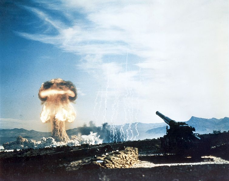 GRABLE EVENT - Part of Operation Upshot-Knothole, was a 15-kiloton test fired from the US Army's new 280-mm gun on May 25, 1953 at the Nevada Proving Grounds, Frenchman's Flat, Nevada. Hundreds of high ranking Armed Forces officers and members of Congress were present.