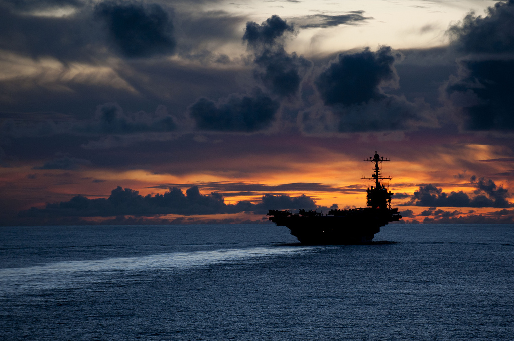PACIFIC OCEAN (Sept. 8, 2012) The aircraft carrier USS George Washington (CVN 73) is underway near Guam at sunset. George Washington is the centerpiece of Carrier Strike Group (CSG) 5 based out of Yokosuka, Japan.