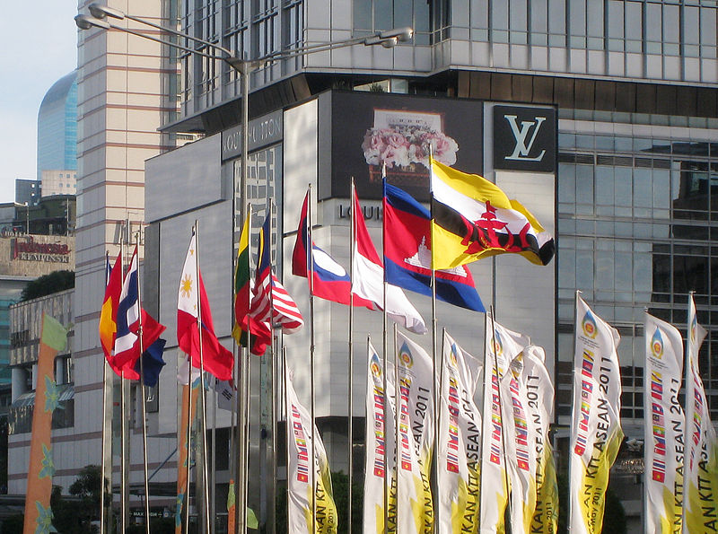 ASEAN Nations Flags in Jakarta