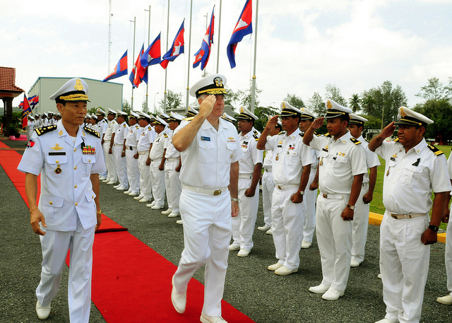 REAM, Cambodia (Oct. 22, 2012) Rear Adm. Tom Carney, commander of Task Force 73, salutes Royal Cambodian naval officers at the Ream Navy Base during Cooperation Afloat Readiness and Training (CARAT) Cambodia 2012. CARAT is a series of bilateral military exercises between the U.S. Navy and the armed forces of Bangladesh, Brunei, Cambodia, Indonesia, Malaysia, the Philippines, Singapore, Thailand and Timor Leste.