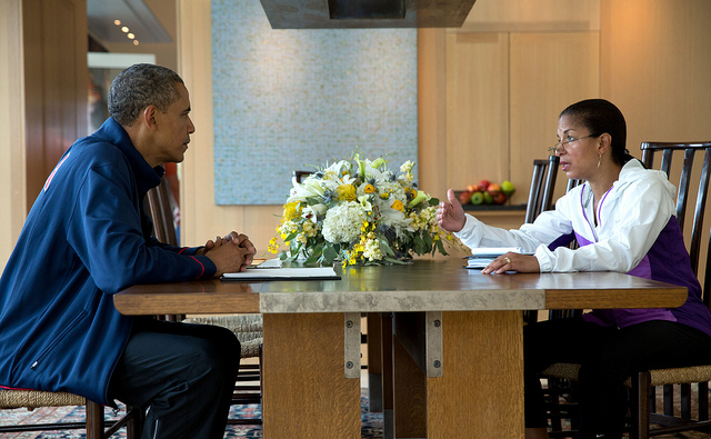 National Security Advisor Susan E. Rice briefs President Barack Obama during his Presidential Daily Briefing in Chilmark, Mass., Aug. 12, 2013. (Official White House Photo by Pete Souza)