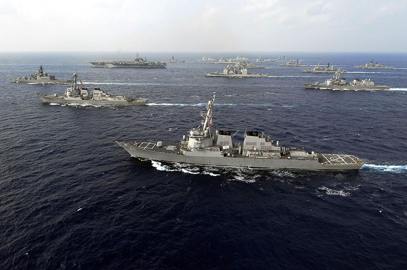 PHILIPPINE SEA (Nov. 16, 2007) American and Japan Maritime Self-Defense Forces (JMSDF) ships transit in formation at the end of ANNUALEX 19G, the maritime component of the U.S.-Japan exercise Keen Sword 08.