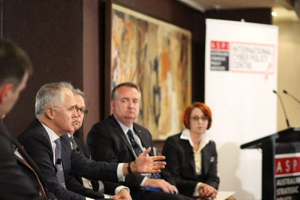 Malcolm Turnbull (Shadow Minister for Communications and Broadband), Gary Blair (Commonwealth Bank of Australia), Tim Morris (Assistant Commissioner, Australian Federal Police), and Judith Lind (Australian Crime Commission) at the launch of the ASPI International Cyber Policy Centre.