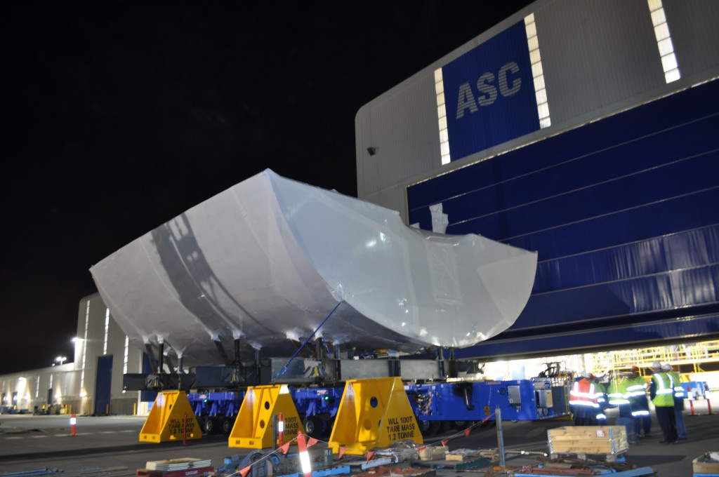 The first Air Warfare Destroyer block to arrive in Adelaide was successfully rolled off the barge at the Government of South Australia's Common User Facility wharf and into the ASC's AWD shipyard.