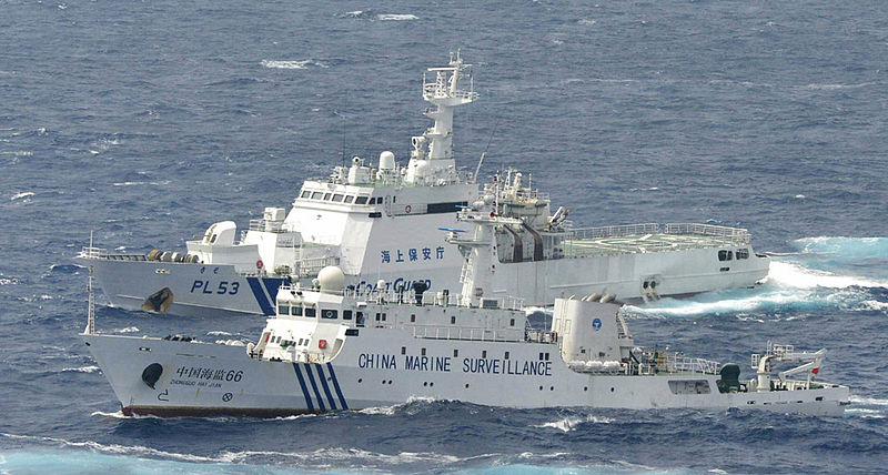 "The China Marine Surveillance cutter ""Haijian 66"" and the Japan Coast Guard cutter ""Kiso"" confronted each other near the Diaoyu Islands."