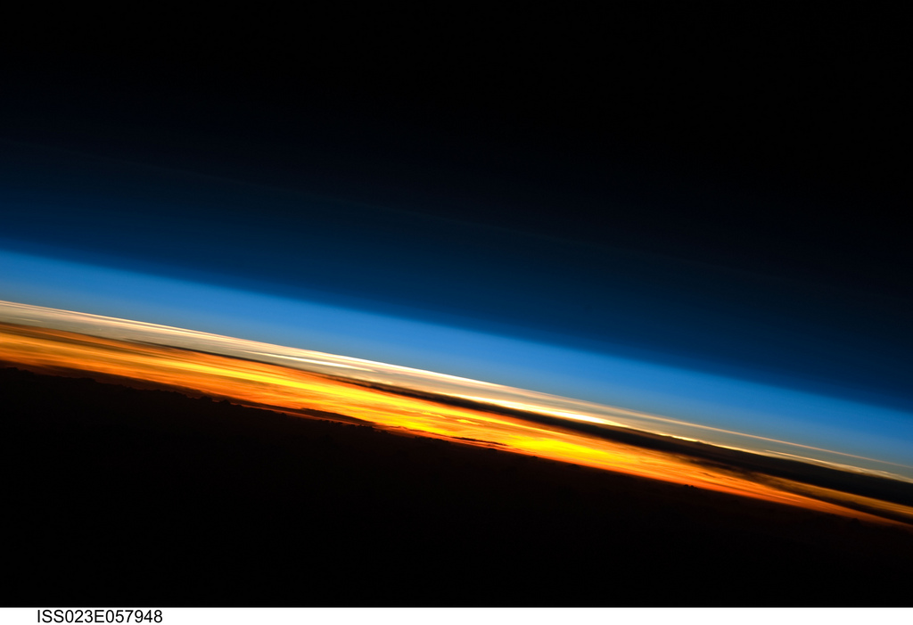 A sunset on the Indian Ocean is featured in this image photographed by an Expedition 23 crew member on the International Space Station (ISS).