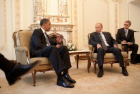 President Barack Obama meets with then Prime Minister Vladimir Putin