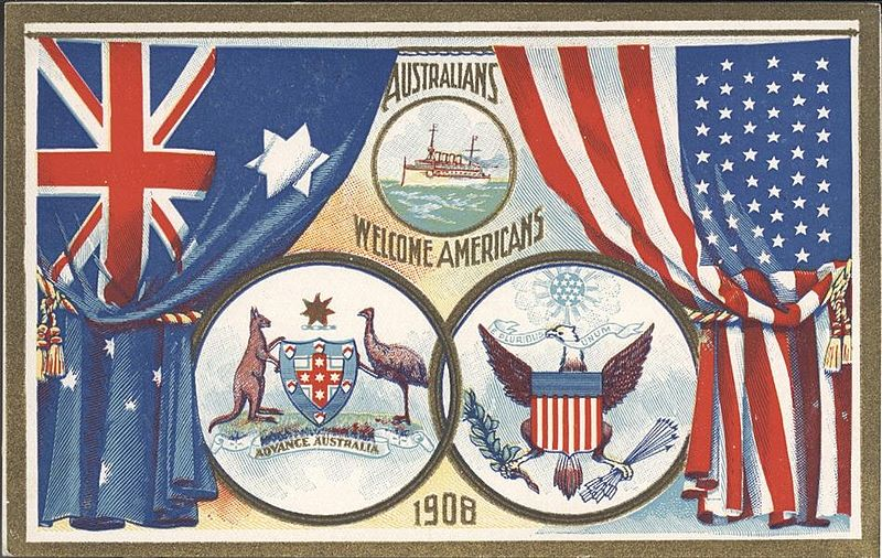 A 1908 postcard welcoming the Americans to Australia.