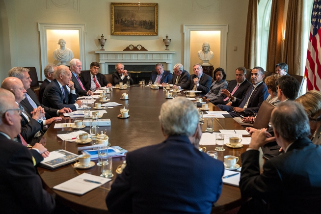 President Barack Obama meets with Members of Congress to discuss Syria in the Cabinet Room of the White House, Sept. 3, 2013. (Official White House Photo by Pete Souza)