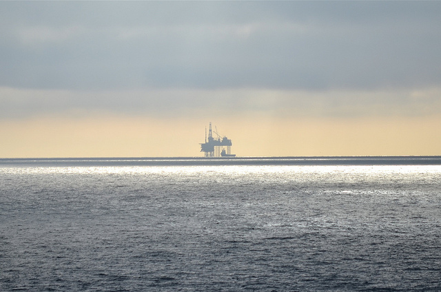 twilight on a gas field