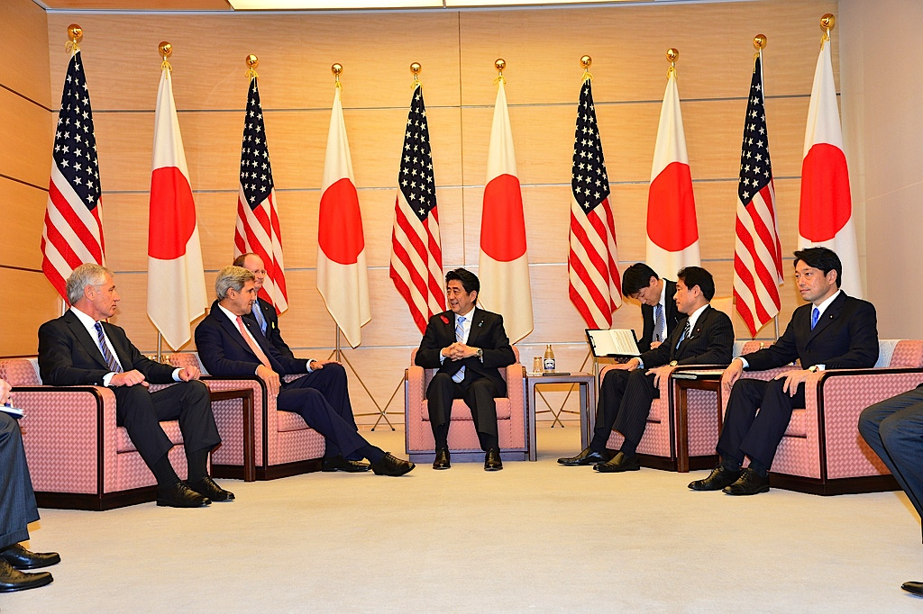 U.S. Secretary of State John Kerry and U.S. Secretary of Defense Chuck Hagel meet with Prime Minister Shinzo Abe at the prime minister's official residence in Tokyo on October 3, 2013.