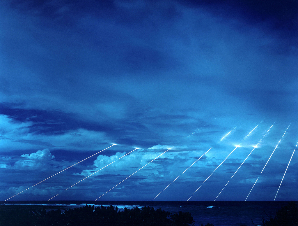 LGM-118A Peacekeeper missile system being tested at the Kwajalein Atoll in the Marshall Islands.