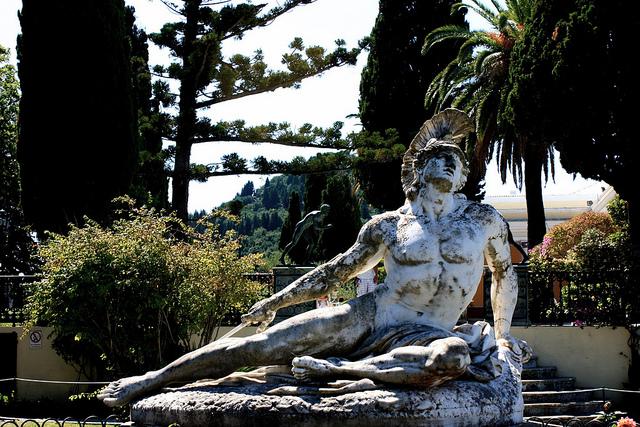 Dying Achilles Sculpture in Achilleion Gardens, Corfu.