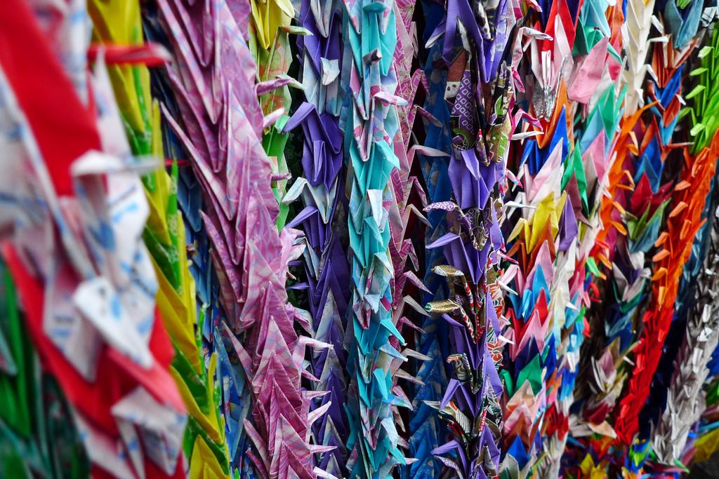 Paper cranes (Senbazuru) at Hiroshima and Nagasaki peace memorial in Ueno Park, Tokyo