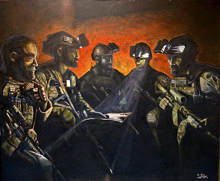 The canvas 'Five Eyes', painted by Corporal S, a Special Operations Task Group soldier deployed to Afghanistan, in honour of the enduring friendship of Special Forces Coalition partners.