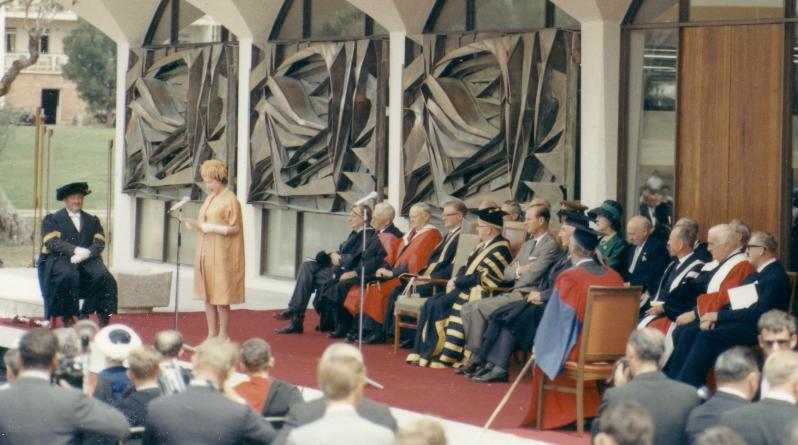 Her Majesty Queen Elizabeth II opens the Menzies Building at the ANU, March 1963