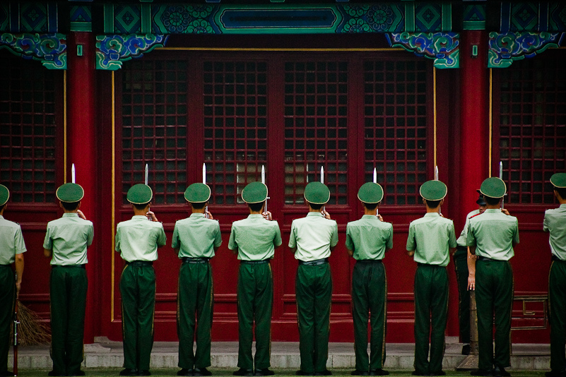 Chinese Soldiers in The Forbidden City - Beijing.