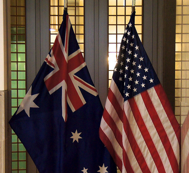 Australian and American Flags, Australian Embassy
