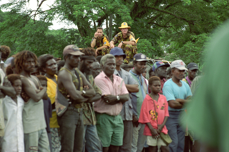 New Zealand personnel deployed to Bougainville on Operation Belisi, March 1998.