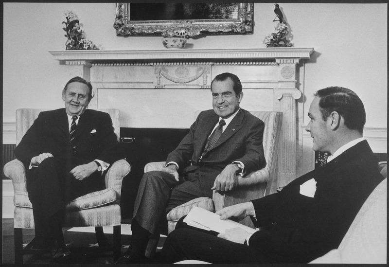 Pictured: Prime Minister John Gorton, President Nixon, Gen. Alexander Haig, Jr. (26 April 1971)