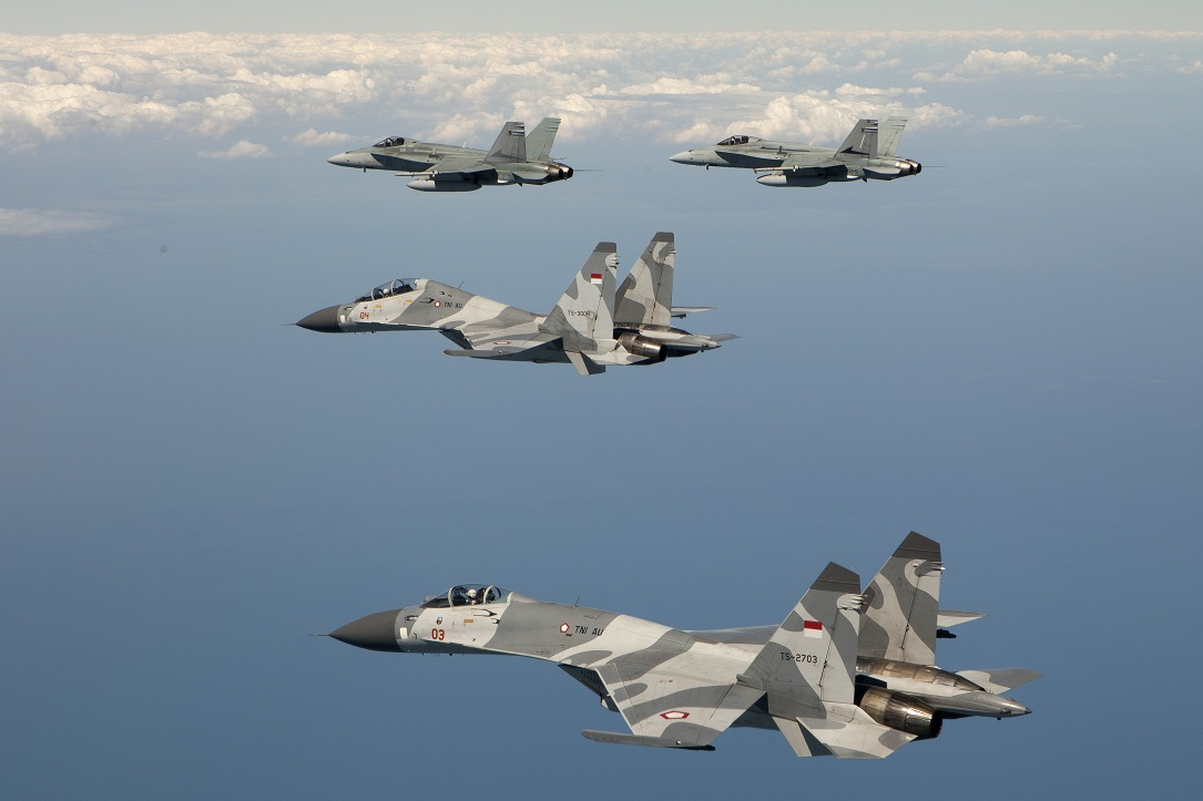 Indonesian Air Force Sukhoi aircraft with RAAF F/A-18s on Exercise Pitch Black 2012