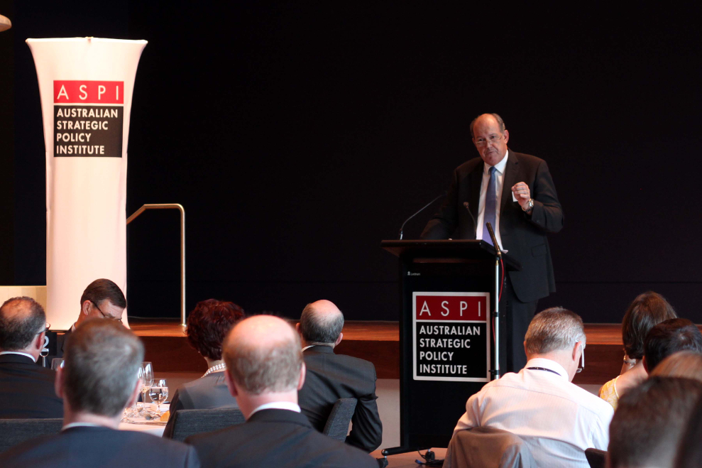 Defence Minister Johnston speaks at an ASPI Boeing National Security Dinner