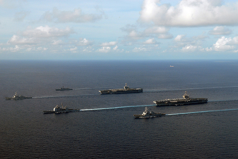 (Oct. 12, 2012) The Nimitz-class aircraft carriers USS George Washington (CVN 73), USS John C. Stennis (CVN 74), the guided-missile cruiser USS Mobile Bay (CG 53), the guided-missile destroyers USS McCampbell (DDG 85) and USS Paul Hamilton (DDG 60) and the guided-missile frigate USS Vandegrift (FFG 48) steam together in formation.