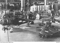 Australian built Boomerang fighter aircraft under construction at Fishermens Bend, Victoria, during WW2