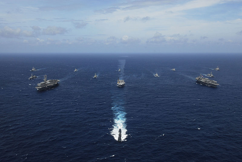 USS KITTY HAWK, At sea (Sept. 5, 2007) - Naval ships from India, Australia, Japan, Singapore, and the United States steam in formation in the Bay of Bengal during Exercise Malabar 07-2 on Sept. 5. The formation included USS Kitty Hawk, USS Nimitz, INS Viraat, JS Yuudachi, JS Ohnami, RSS Formidable, HMAS Adelaide, INS Ranvijay, INS Brahmaputra, INS Ranjit, USS Chicago and USS Higgins. U.S. Navy photo by Mass Communication Specialist Seaman Stephen W. Rowe