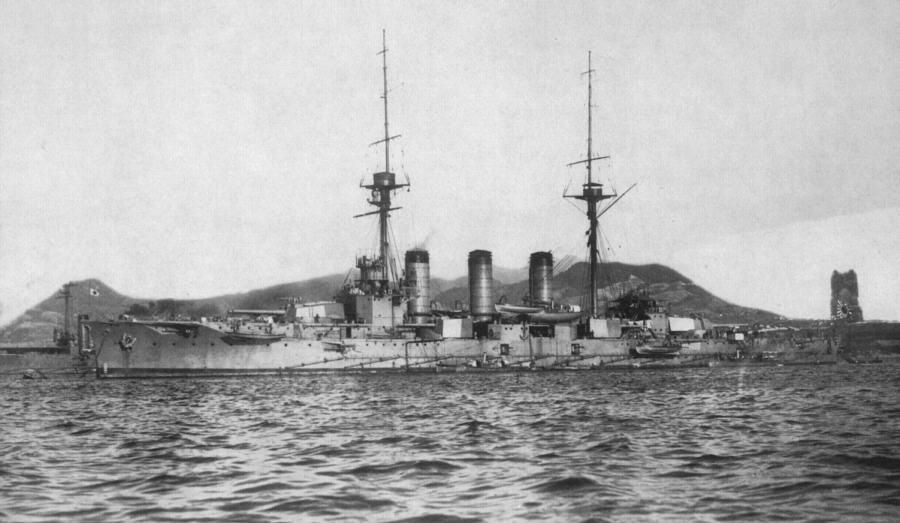 The Japanese Imperial Navy battlecruiser Ibuki helped escort troops of the 1st AIF to Egypt in 1915.