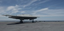 X-47B prepares for its first launch aboard CVN 77 ATLANTIC OCEAN (May 14, 2013) An X-47B Unmanned Combat Air System (UCAS)
