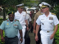 Outgoing Commander PNGDF, Brigadier General Francis Agwi, with then Commander of the US Pacific Fleet, Admiral Patrick Walsh, at Murray Barracks in June 2011 during a visit to Port Moresby by former US Assistant Secretary of State, Kurt Campbell