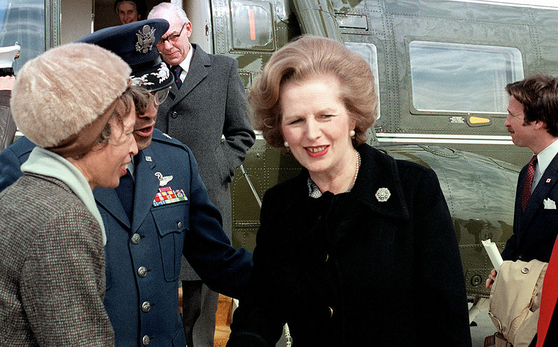 Margaret Thatcher US visit 1981 - not even a helicopter's downwash could disturb the hair