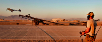 The AAI Shadow 200 tactical unmanned aerial system is deployed at Multi National Base - Tarin Kot by Able Seaman Aviation Technician Avionics Steven Kerswell.