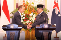 Prime Minister Tony Abbott with President SBY during his visit to Jakarta in September 2013.