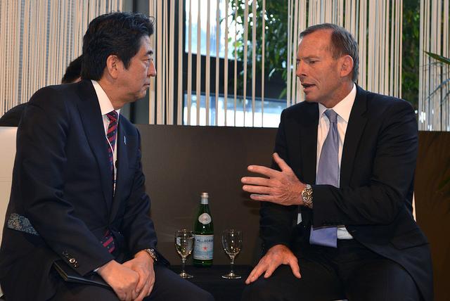 Prime Minister Tony Abbott with Japanese Prime Minister Shinzo Abe.