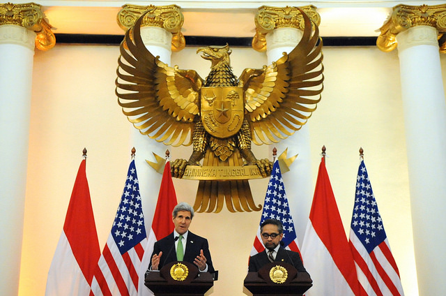 U.S. Secretary of State John Kerry and Indonesia Foreign Minister Marty Natalegawa hold a news conference after a bilateral meeting in Jakarta, Indonesia on February 17, 2014. [State Department photo/ Public Domain]