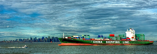 China Shipping Line vessel in New York harbour.