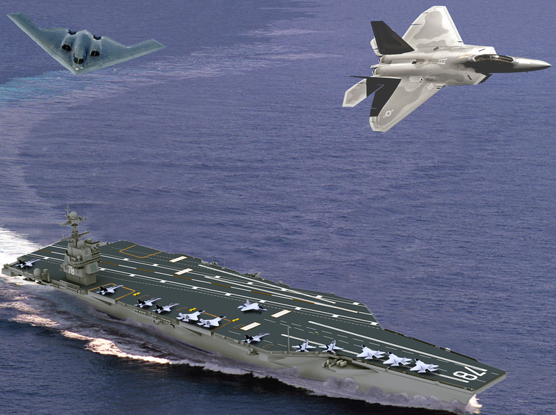 Artists impression of the USN's new Ford class carrier with USAF B-2 and F-22 aircraft