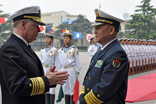 Chief of Naval Operations (CNO) Adm. Gary Roughead speaks with Adm. Wu Shengli, Commander-in-Chief of the People's Liberation Army Navy